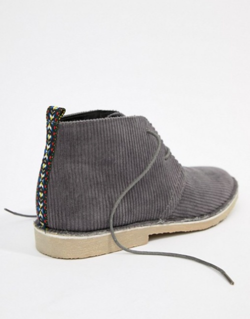 ASOS DESIGN - Desert Boots en Velours Côtelé - Gris