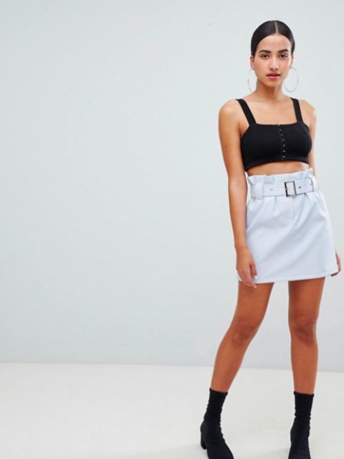 ASOS DESIGN - Mini-jupe en Similicuir Avec Taille Froncée et Ceinture