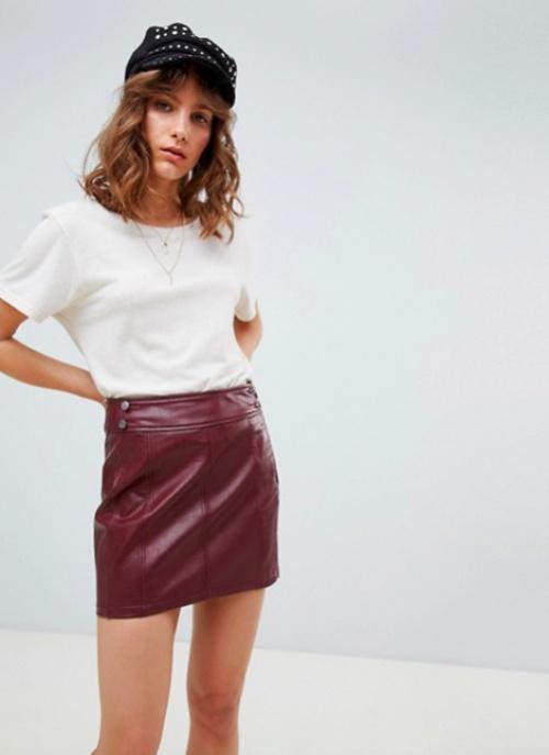 Free People - Mini-jupe moulante rétro en cuir végétal