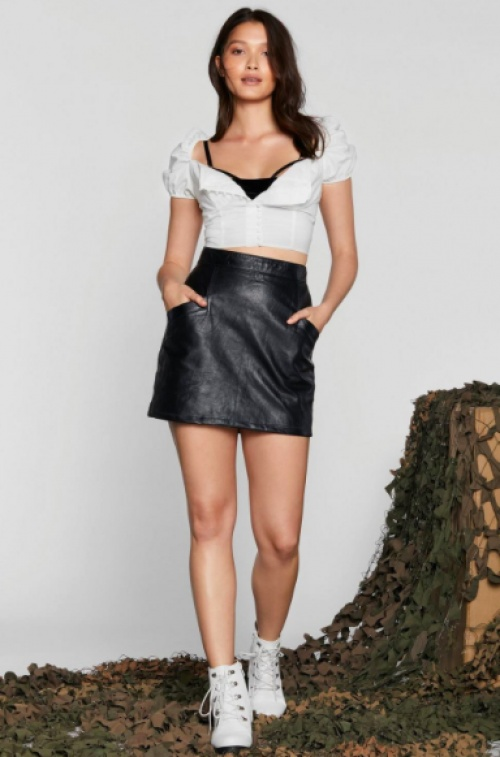 Nasty Gal - After Party Vintage Drop Us A-Line Leather Skirt