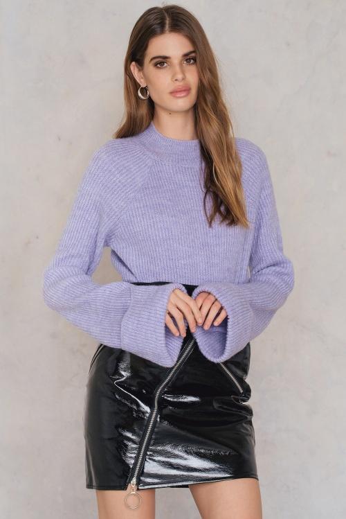 NA-KD - Diagonal Zip Patent Skirt Black