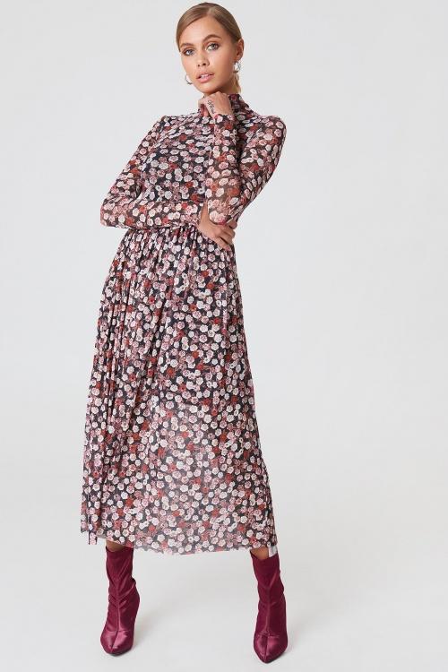 NA-KD - Mesh LS Midi Dress Pink