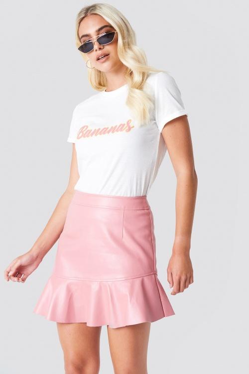 Rut & Circle - Frill Pu Skirt Pink
