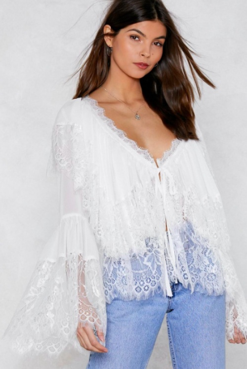 Nasty Gal - Lace Me Oversized Blouse