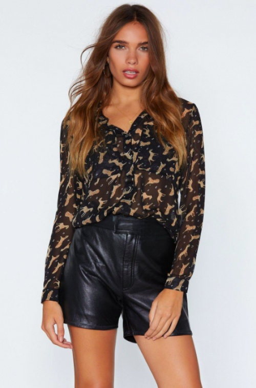 Nasty Gal - Hunt Them Out Leopard Shirt