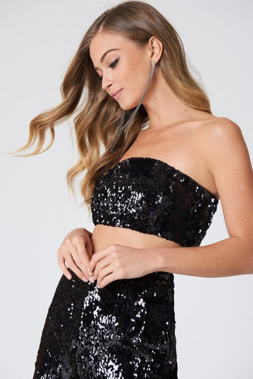 NA-KD - Sequins Bandeau Top Black