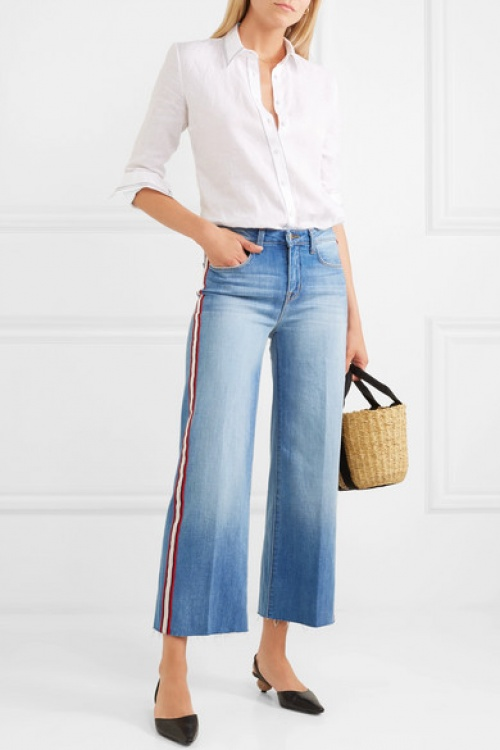 L'agence - Danica Cropped Striped High-Rise Wide-Leg Jeans