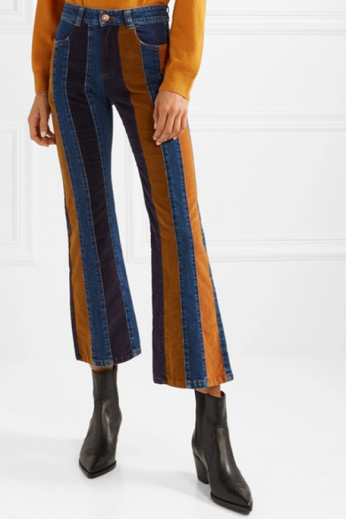 See By Chloé - Cropped Corduroy-Paneled High-Rise Flared Jeans
