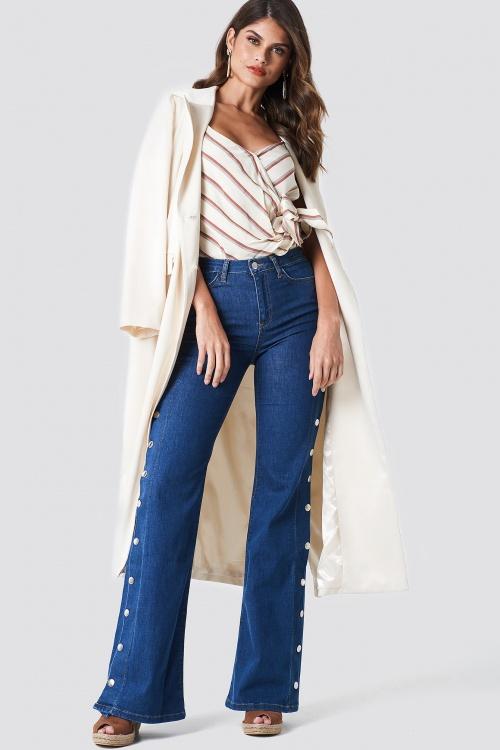 Trendyol - High Flared Jeans Blue