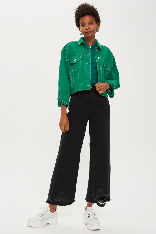 Topshop - Washed Black Ladder Hem Jeans