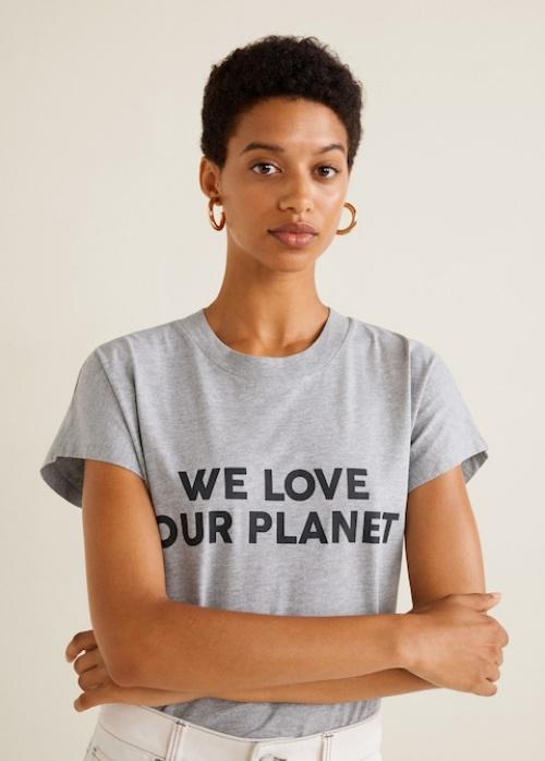Mango - T-shirt Coton Bio Message