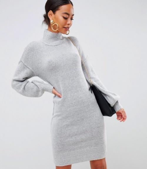 Fashion Union Tall - Robe en Maille à Manches Ballon