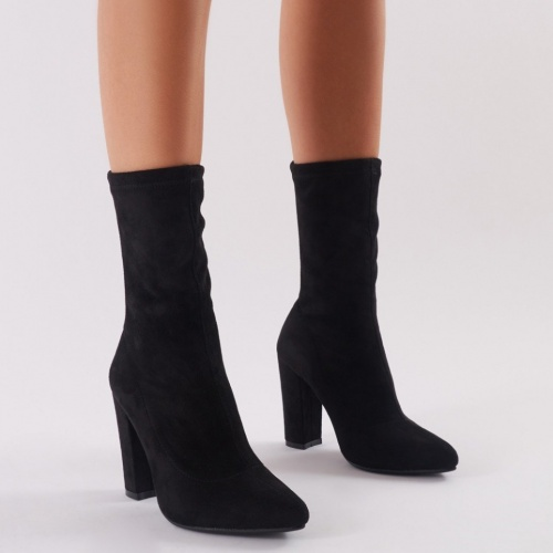Public Desire - Montreal Sock Fit Ankle Boots In Black Faux Suede
