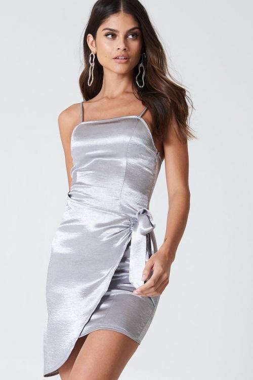 Kristin Sunberg - Overlapped Tie Front Dress Silver