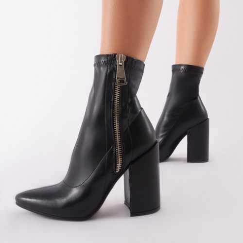 Public Desire - Renzo Sock Fit Ankle Boots In Black