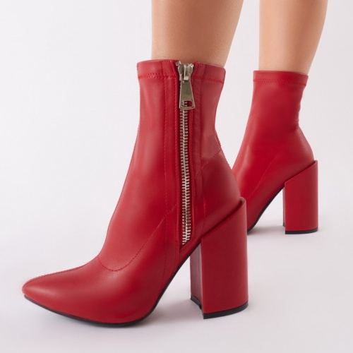 Public Desire - Renzo Sock Fit Ankle Boots In Red