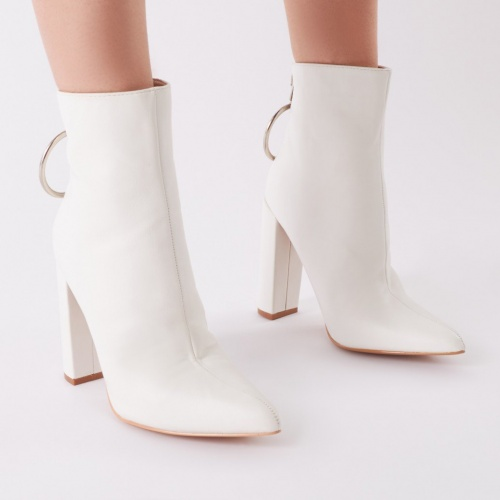 Public Desire - Fleek Metal Ring Ankle Boots In White
