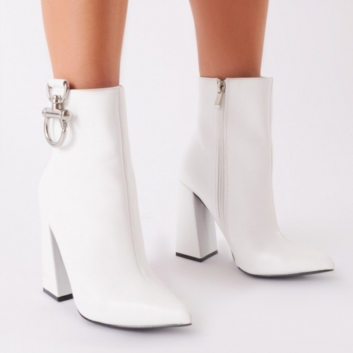 Public Desire - Forever Metal Trim Ankle Boots In White