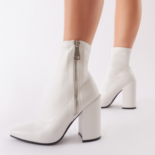 Public Desire - Renzo Sock Fit Ankle Boots In White