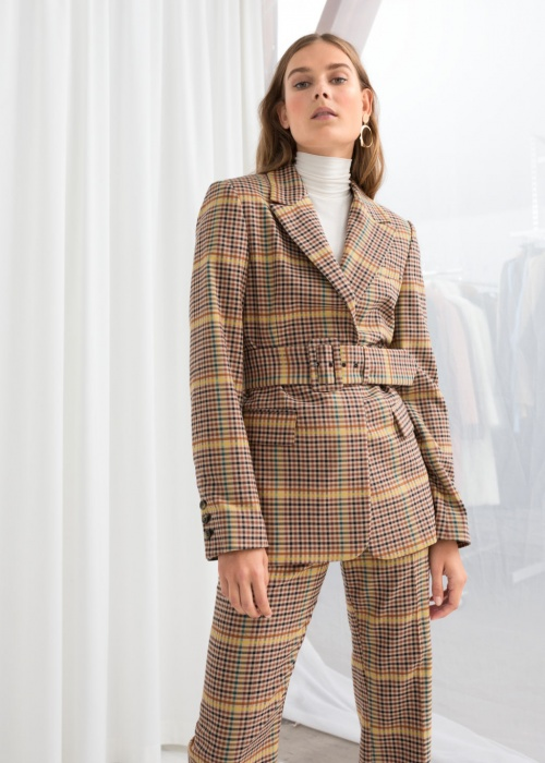 & Other Stories - Belted Plaid Blazer