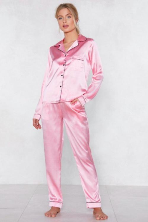 Nasty Gal - Sleep It Off Pajama Top and Pants Set