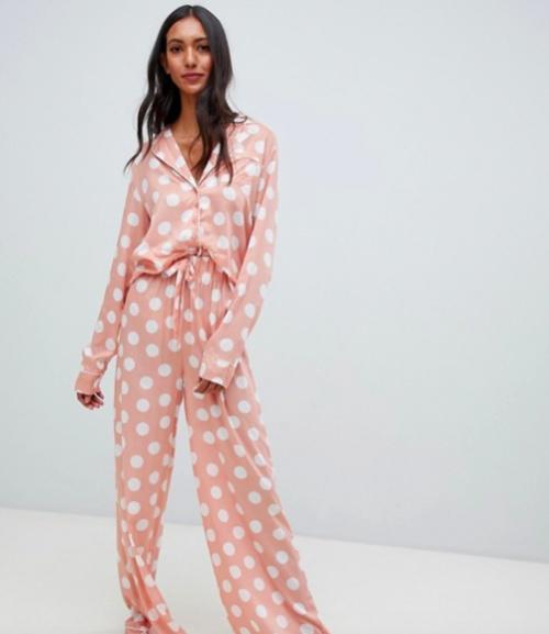 ASOS DESIGN Tall - Ensemble de Pyjama Chemise et Pantalon Large à Pois 100 % Modal