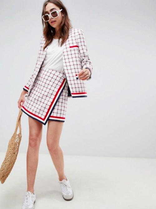 ASOS DESIGN - Mini-jupe Ajustée en Bouclette à Carreaux