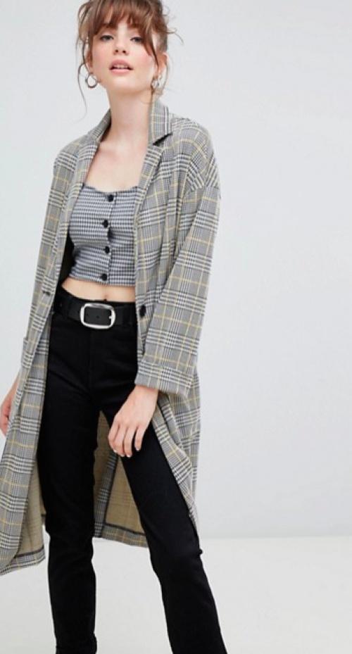 New Look - Manteau Long Texturé à Carreaux