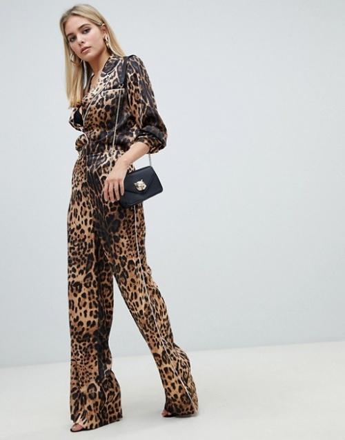 Chemise en satin léopard