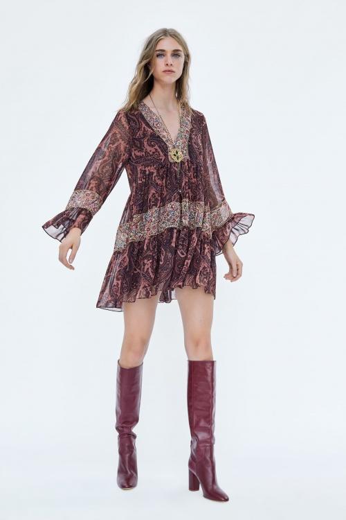 Zara - Robe Imprimée Assortie