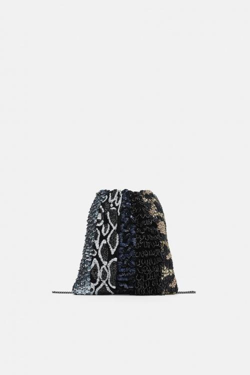sac bourse bandoulière léopard paillette