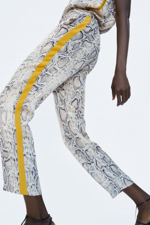 pantalon imprimé python avec bandes
