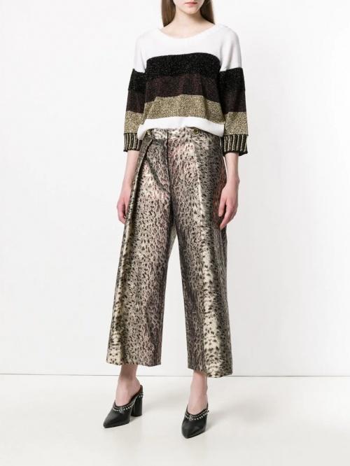pantalon évasé imprimé léopard