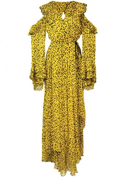 robe à volants imprimée léopard