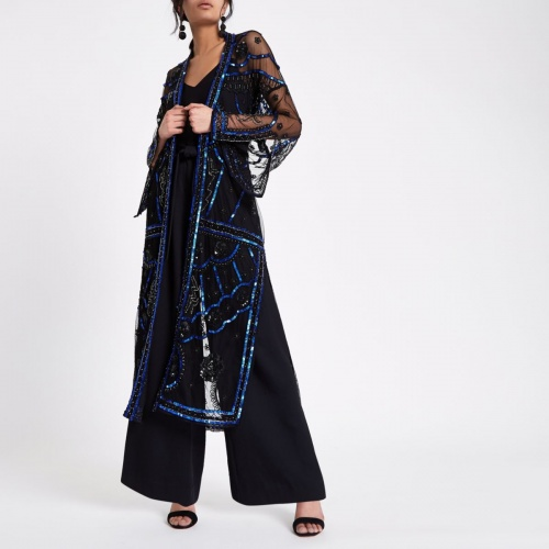 River Island - Kimono long orné noir