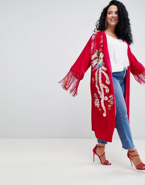 ASOS DESIGN Curve - Kimono en velours