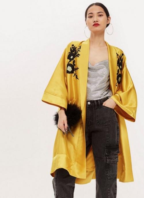 Topshop - Kimono jaune brodé