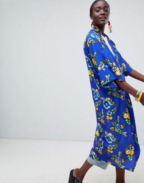 Made In Kenya x Julie Adenuga - Kimono long à fleurs