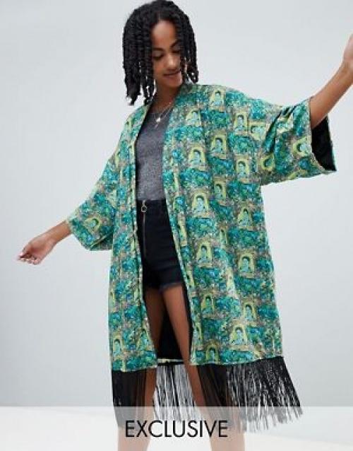 Reclaimed Vintage - Veste kimono à imprimés