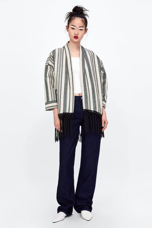 Zara - Kimono à rayures et franges