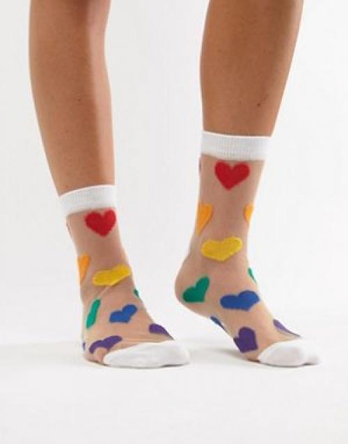 ASOS DESIGN - Socquettes en plumetis motif cœur