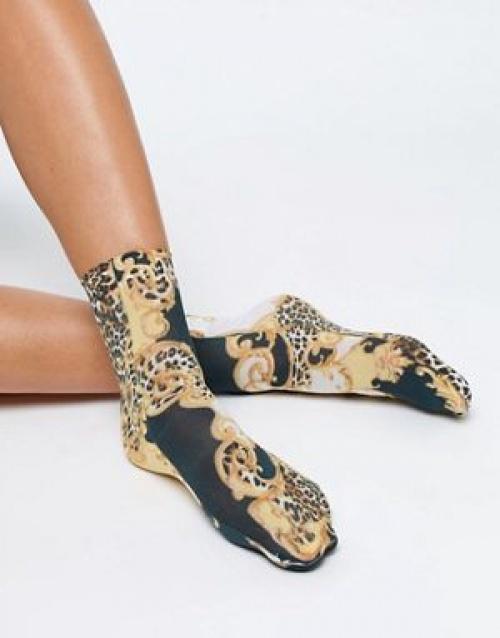 ASOS DESIGN - Chaussettes à imprimé chaîne et léopard