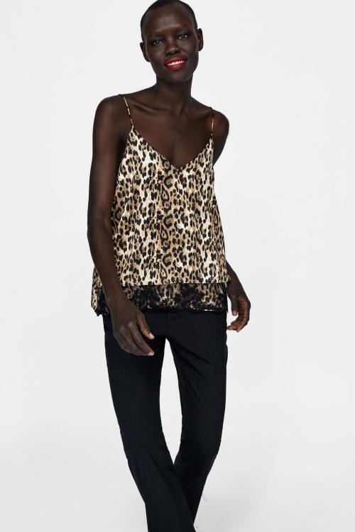 Zara – Caraco en dentelle léopard