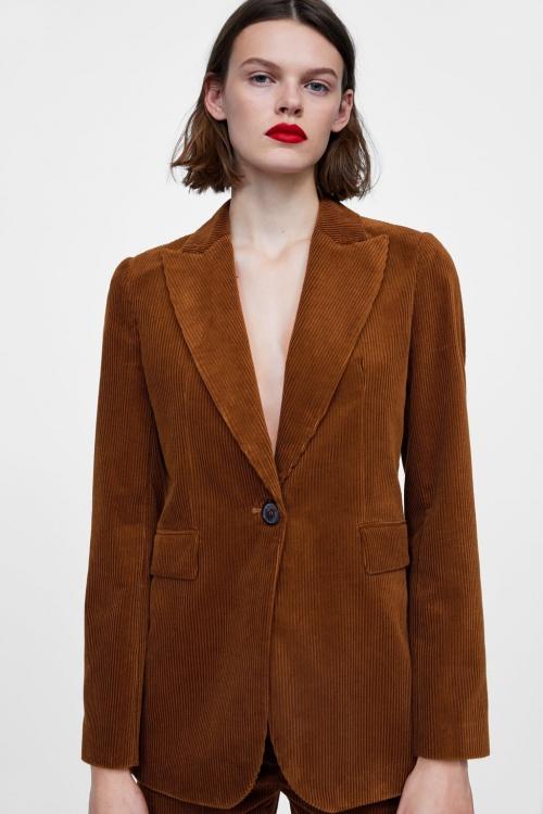 Zara - Blazer en velours côtelé