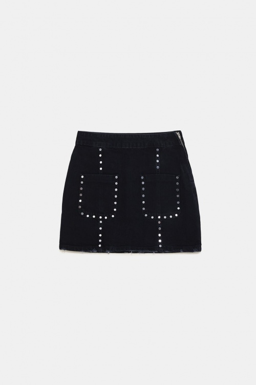 Zara - Mini jupe ZW premimum Rocky Shadow Black