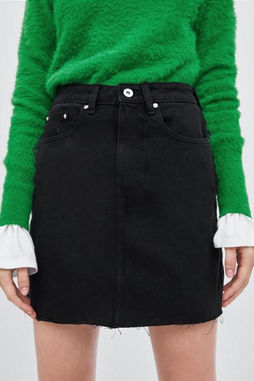 Zara - Mini jupe en jean noire