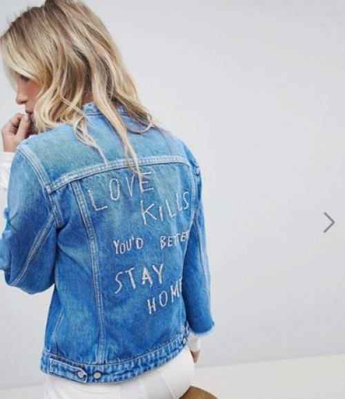 Replay - Veste en jean sans col
