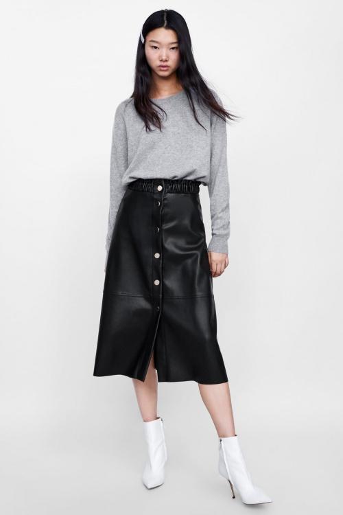 Zara - Jupe mi-longue effet cuir