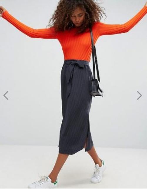 ASOS Tailored - Jupe fourreau mi-longue froncée à la taille et fendue sur les côtés
