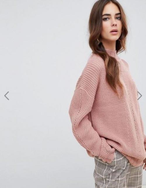 Fashion Union - Pull à encolure haute en maille côtelée